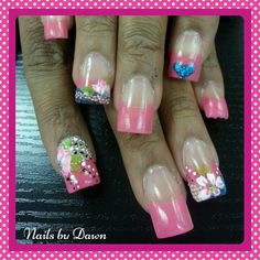 One stroke flowers, encapsulated cavier and glitter acrylic nails