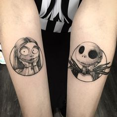 Rafael Arriel no Ins Paar Tattoos, Leg Tattoos, Arm Band Tattoo, Body Art Tattoos, Small Tattoos, Sleeve Tattoos, Cool Tattoos, Jack Skellington, Jack Y Sally