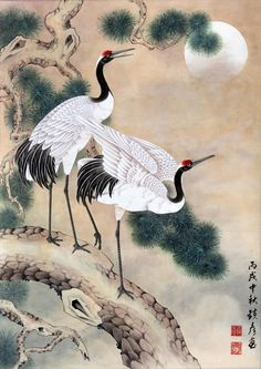2 Cranes in a Tree and Koi 2019 Korean Painting, Japanese Painting, Chinese Painting, Chinese Art, Japanese Drawings, Japanese Prints, Tatoo Bird, Art Chinois, Frida Art
