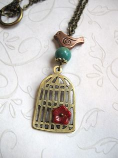 Little Bird Cage necklace by Botanical Bird on Etsy