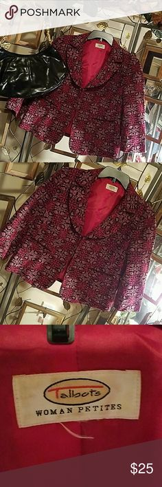 A beautiful Talbots size 14 petite blazer jacket Jacket is 100% cotton with embroidered detail. Bottom front slit pockets with black piping.  Hook and bar front closure.  Three quarter length sleeves.  In good condition with general wear.  Fully lined.  No tears, nor holes. Talbots Jackets & Coats Blazers
