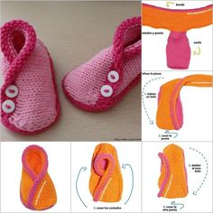 DIY Adorable Knitted Kimono Baby Booties #DIY #craft #knitting