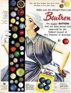 ButtonArtMuseum.com - Make sure the salesgirl shows you Beutron buttons. 1954.