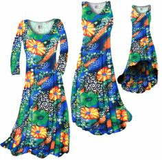 NEW! Customize Green & Tangarine Orange Floral Speckled Paradise Slinky Print Plus Size & Supersize Standard or Cascading A-Line or Princess...