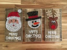 This colourful Christmas String art made from recycled wood and Brightly coloured Cotton gives you a great addition to your home whether is brightens up your office or Lounge around the festive season. It measures approximately 14.5 x 28cm and will come with a saw tooth hanger on