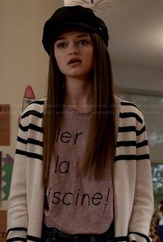 """Emma's """"aller a la piscine!"""" tee, striped cardigan and embroidered cap on Red Band Society.  Outfit Details: http://wornontv.net/37150/ #RedBandSociety"""