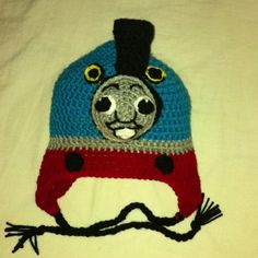 Crochet Thomas the Tank Engine hat - made for my son's birthday <3