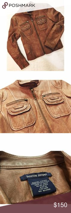 💛Boston Proper • Leather Jacket 💛Boston Proper • Leather Jacket. Soft genuine leather. Excellent used condition. Cute detailing! Size XS. Boston Proper Jackets & Coats
