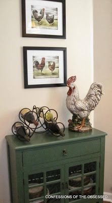 Roosters in the Kitchen--- cabinet and rooster from HomeGoods!
