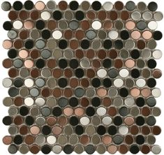"Add a modern, vintage touch to a kitchen back splash, tub/shower surround or bathroom floors. Manufacturer: Maniscalco  Type: Metal Tile, Mosaic Tile  Series: Perth Penny Rounds  Usage: Penny Round Mosaic  Tile Size: 3/4"" Diameter  $76.08 / sqft  1 sqft per box  Square Feet Needed     boxes = $76.08    Notice: Variation in shade, color and finish is"