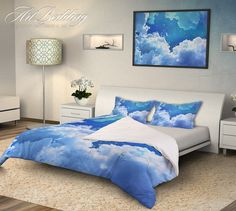 Galaxy bedding, Blue skies with stars Bedding set, White clouds on a blue night sky Duvet cover set, Queen / King / Full / TWIN stars Galaxy Duvet Cover, Cotton sateen bedding set, Skies bedding