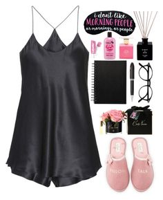 """""""~ silk pajamas ~"""" by rhiannonjadebrown ❤ liked on Polyvore featuring Kate Spade, Olivia von Halle, TrackR and Côte Noire"""