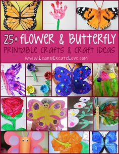 Flower and Butterfly Crafts Round-Up   LearnCreateLove.com