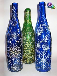 Bottles | Hand painted stained glass.