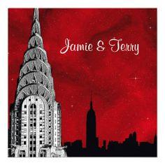 NYC Skyline Silhouette Red Starry Wedding Invite