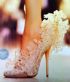 Crystal and Lace heels by Philip Treacy for Valentino