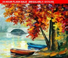 Two Boats Autumn Lake Landscape Oil Painting On Canvas By