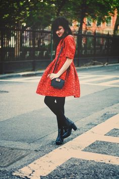 Flashes of Style: Red lace ASOS dress over black tights and boots