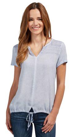 T-Shirt mit Stickerei und Tunnelzug - dyed mix shirt von TOM TAILOR