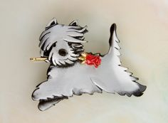 Westie Dog Pewter Pin  /  Pendant with a Red by markshields123, $36.75