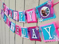 Disney Frozen birthday banner Elsa and Anna by CelebrationBanner