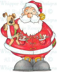 Santa & Puppy - Christmas Images - Christmas - Rubber Stamps - Shop