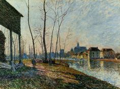 A February Morning at Moret sur Loing, 1881, Alfred Sisley Size: 50x65 cm Medium: oil on canvas