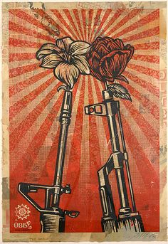 Image: Shepard Fairey, VS AK 47 is one of the works to be auctioned at the Julien's Auctions/Artsy Street Art Now auction Protest Kunst, Protest Art, Graphic Design Posters, Graphic Design Illustration, Shepard Fairey Art, Obey Art, Palestine Art, Protest Posters, Propaganda Art