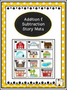 These story mats are a great hands-on way for students to build number sense and solve addition and subtraction problems.  There are 12 different story mats  log cabin, castle,  house, school, fire station, bridge, park, pool, restaurant, store, igloo, an