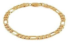 """14k Italy Yellow Gold 3.2mm Figaro 3 + 1 Link Chain Bracelet 7"""" Inches  http://electmejewellery.com/jewelry/bracelets/link/14k-italy-yellow-gold-32mm-figaro-3-1-link-chain-bracelet-7-inches-com/"""