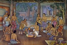 """Jesus Washing the Feet of His Disciples,"" by Ketut Lasia Catholic School Girl, Bible Images, Christian Families, Bible Stories, Balinese, Christian Art, Religious Art, Art Forms, Jesus Christ"