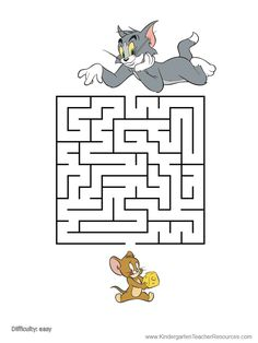 A selection of free printable mazes for kids with Tom and Jerry. Many more Tom and Jerry printables on this site. Mazes For Kids Printable, Worksheets For Kids, Kids Mazes, Free Printable, Letter I Worksheet, Maze Worksheet, Tom And Jerry Cake, Tom E Jerry, Preschool Activities At Home