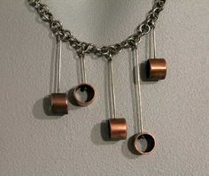 Asymmetrical Recycled Copper Tubing Necklace by OnocleaStudios, $57.00