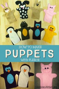 I LOVE these cuddly fun puppets! Easy free tutorial to make Hand Puppets. JOYwithPurpose.com #crafts Great gift for TODDLERS - perfect for 2-4 shoebox gifts or donations for family homeless shelters or foster care.