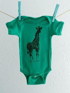 Giraffe Onesie - Baby Boy or Girl Bodysuit - Free Shipping. $18.00, via Etsy.