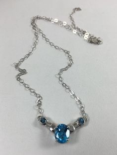 .925 Sterling Silver Blue Topaz solid 4.00 tw Necklace Intense Blue GORGEOUS NEW    eBay