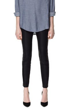 FAUX LEATHER JEGGINGS from Zara