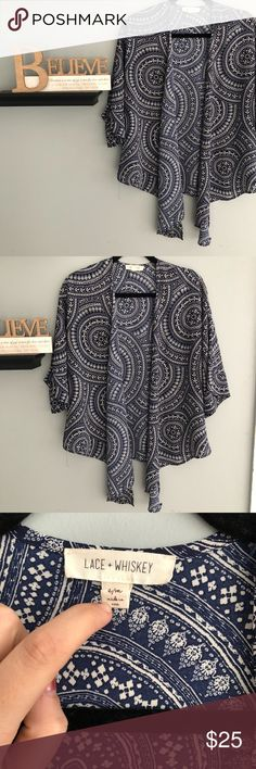 Lace & Whiskey Patterned Navy Kimono New without tags. Geometric Patterns. Not completely see through. Light weight and flows Lace & Whiskey Sweaters