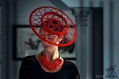 Red spirograph boater  BY MICHELLE ROBINSON  #millinery #hats #HatAcademy