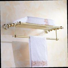 41.39$  Watch now - http://alihqn.worldwells.pw/go.php?t=32606562555 - Golden crystal bathroom towel rack bathroom shelf towel holder Double towel rack holder bathroom accessories 41.39$