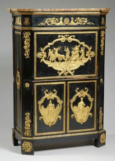 Louis XVI Gilt-Bronze Mounted Ebonized Secretaire a Abattant    JB Birckle, late 18th century