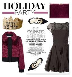 """Holiday Party"" by serepunky on Polyvore featuring mode, Alex Perry, Oscar de la Renta, Nine West, Monsoon, Gwyneth Shoes, purple, black, HolidayParty en happynewyear"