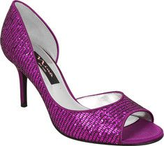 A glitter open toe pump to add a little glam to any outfit. This D'Orsay pump features a leather sole and a high heel.