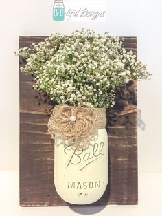 Burlap Mason Jar Wall Decor Flower Vase Color of by BUtifulDesigns