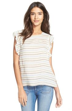 $120 Amour Vert 'Delia' Gauzy Stripe Shell available at #Nordstrom