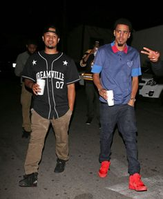 """J. Cole in the Nike Air Yeezy 2 """"Red October"""" Celebrity Sneakers 9b46c0e1e"""