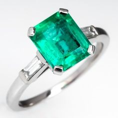 Vintage Emerald Engagement Ring Baguette Diamond Accents Platinum