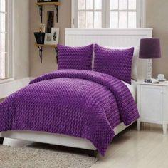 Girls Kids Bedding- Rose Fur Purple Comforter Set