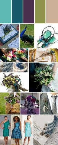 peacock wedding, purple, lime green, bronze, a little turquoise