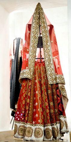 Red and white bridal lehenga